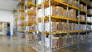 Boxes in modern logistic distribution storehouse interior